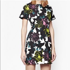 Black white bright floral fit & flare dress